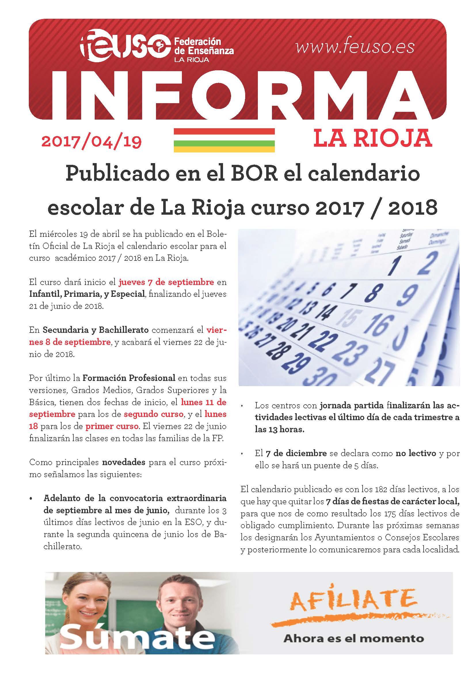 FEUSO INFORMA LA RIOJA 20170419 Calendario Escolar 17-18 BOR