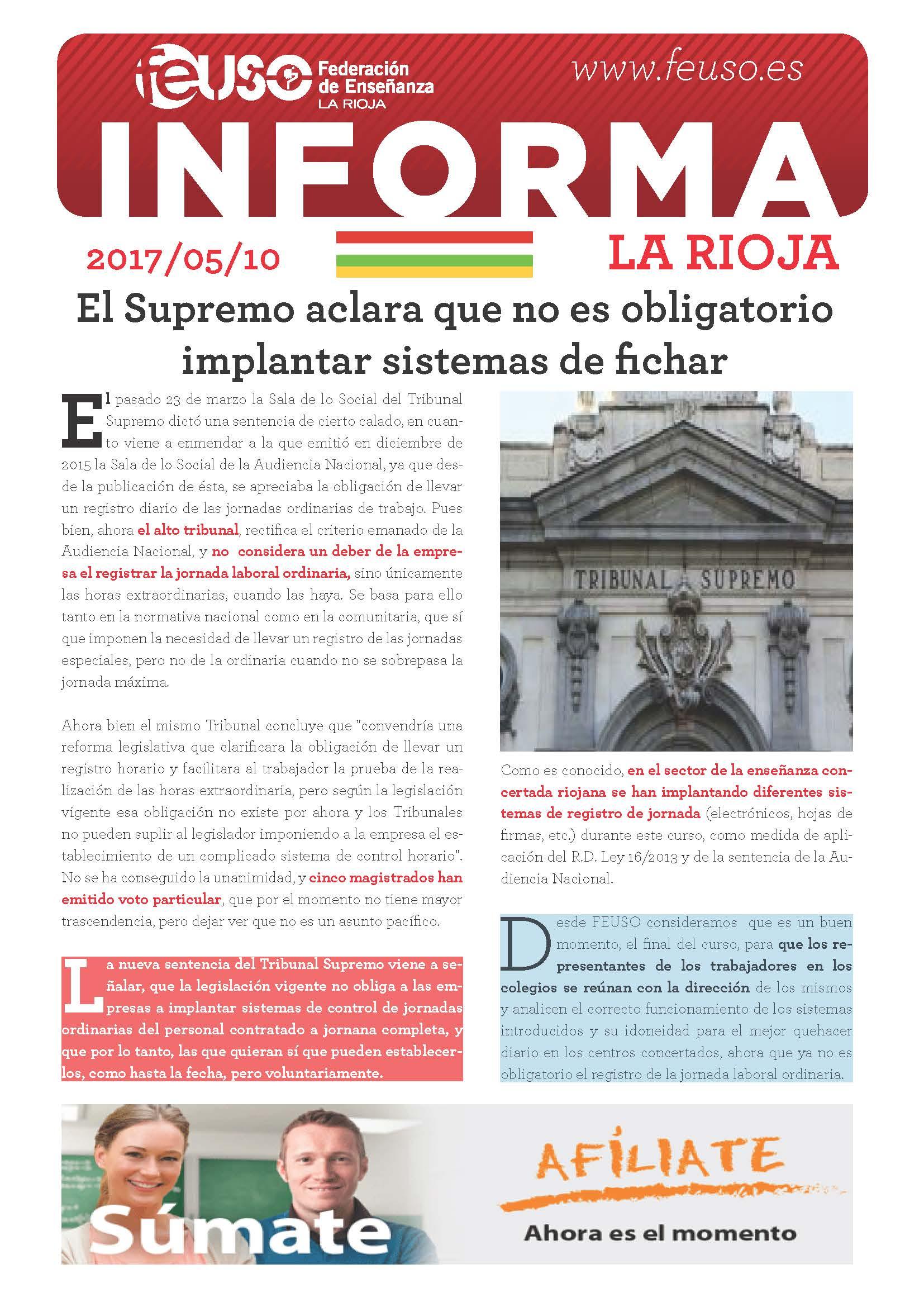 FEUSO INFORMA LA RIOJA 20170510 SISTEMAS DE FICHAR ST TS