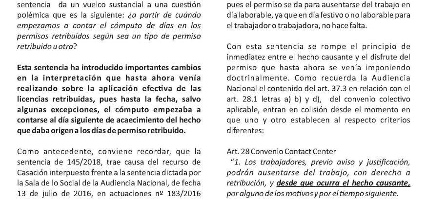 COMENTARIO SENTENCIA PERMISO RETRIBUIDO Página 1
